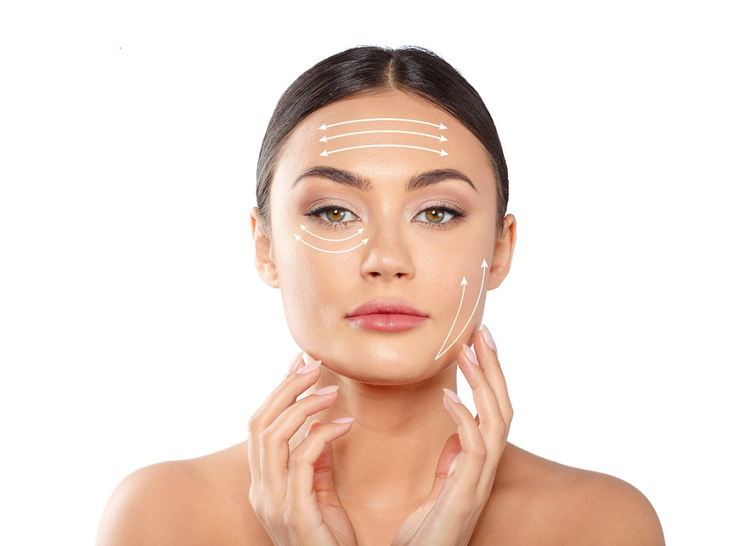 woman face lifting skin tightening